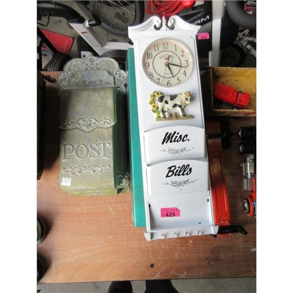 3 Mail Boxes & 1 Kitchen Clock Sorter
