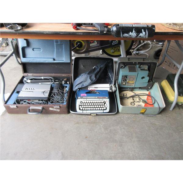 Vintage Typewriter, Projector & Video Camera