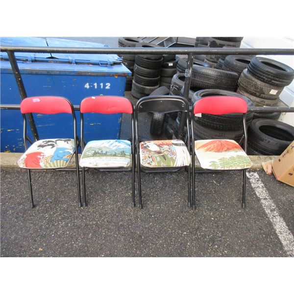 4 Folding Chairs with Fabric Covered Seats