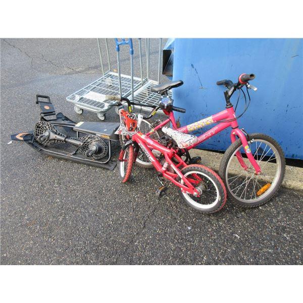 2 Kid's Bikes, Hoover Board & Sled
