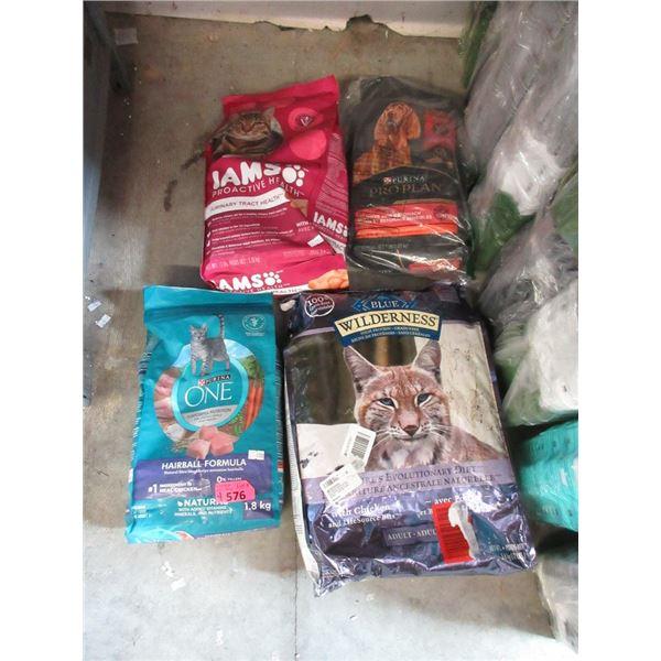 3 Bags of Dry Cat Food & 1 Bag of Dry Dog Food