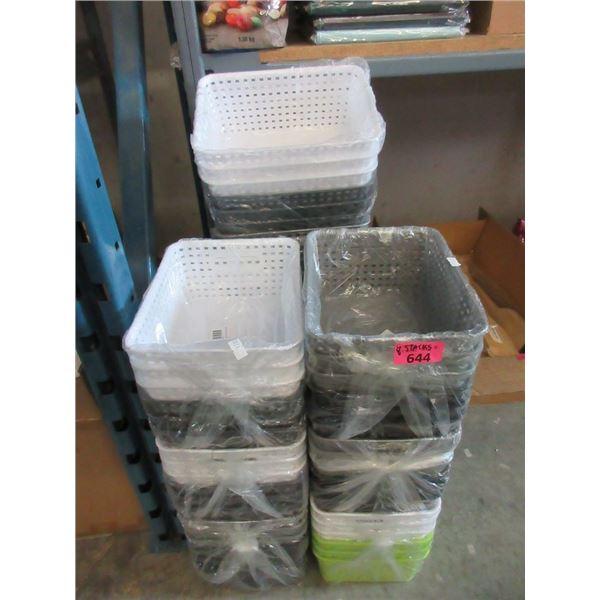 8 Stacks of New Plastic Organizer Baskets