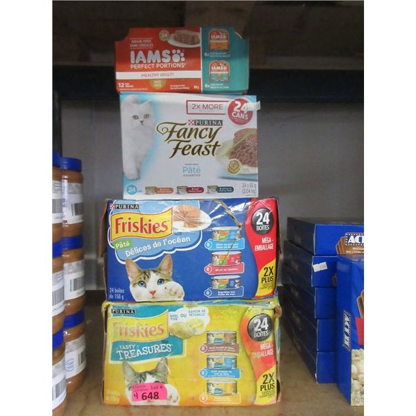 4 Boxes of Assorted Wet Cat Food