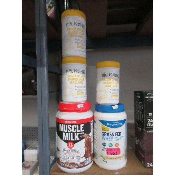 Muscle Milk & Assorted Collagen Supplements