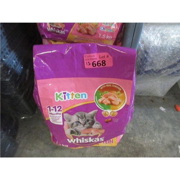 10 x 1.5kg  Bags of Whiskas Dry Kitten Food