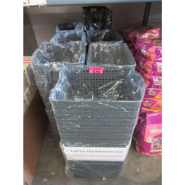 7 Stacks of Plastic Organizer Baskets