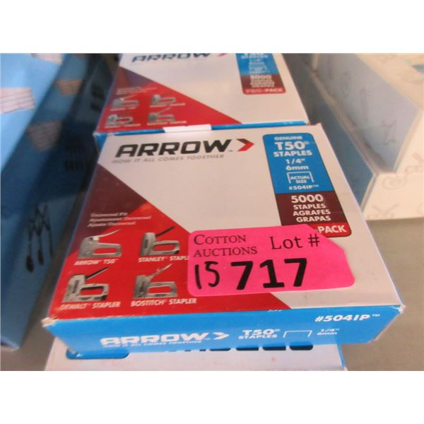 "15 Boxes of T50 1/4"" Staples - 5000 per box"