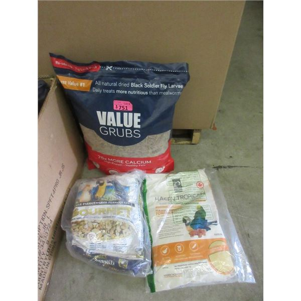 1 Value Bag of Grubs and 2 Bags of Parrot Food