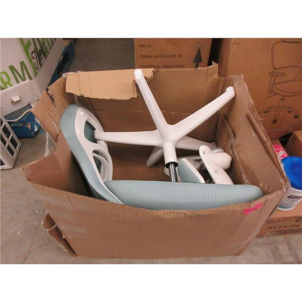 White and Green Office Chair - Unassembled