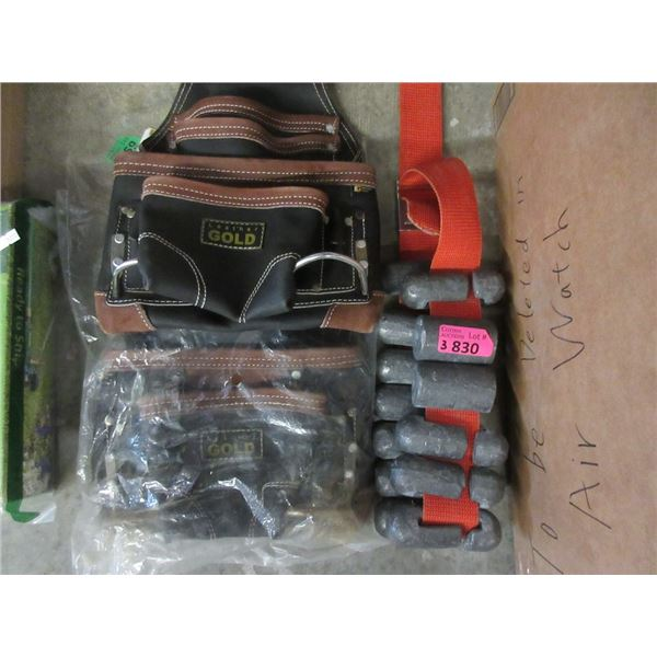 Diving Weight Belt & 2 New Leather Gold Tool Pouches