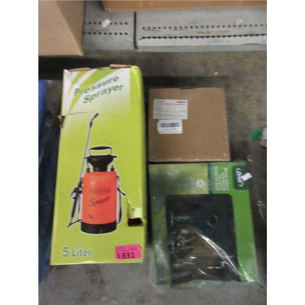 Pressure Sprayer, Sprinkler & Cordless Drill Set