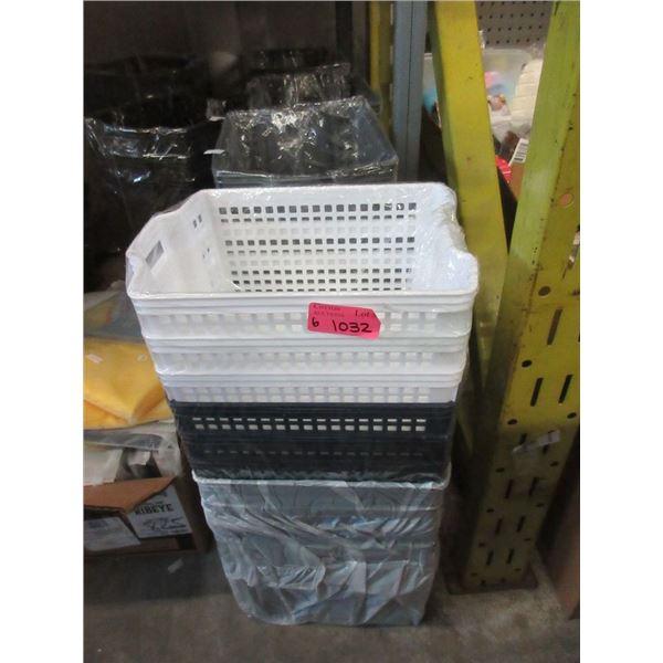 6 Stacks of New Plastic Organizer Baskets