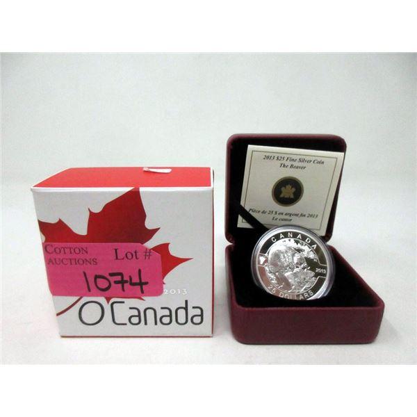 """2013 Canada .9999 Silver """"The Beaver"""" $25 Coin"""