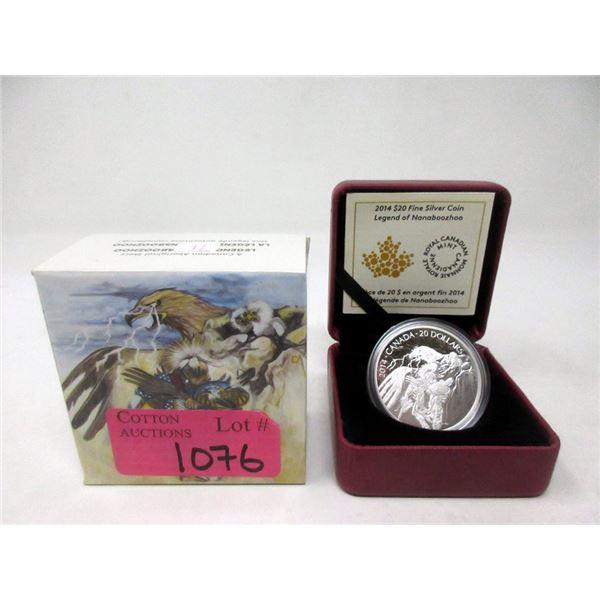 """2014 Canada Fine Silver """"Nanaboozhoo"""" $20 Coin"""