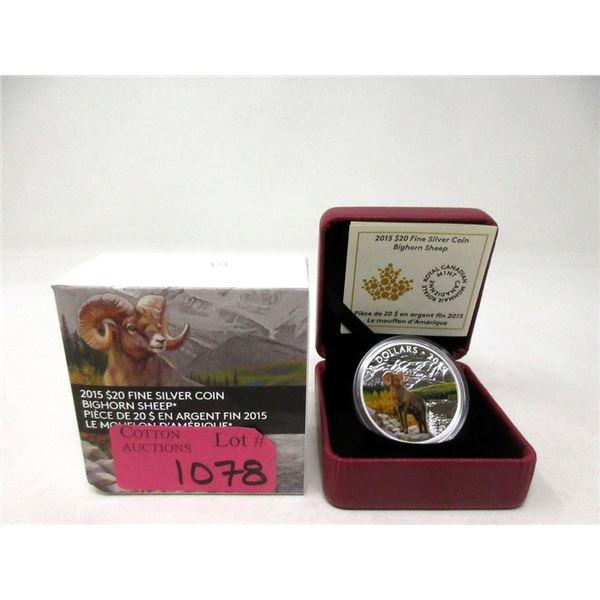 2015 Canada Fine Silver $20 Bighorn Sheep Coin
