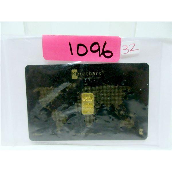 1 Gram .9999 Fine Gold Bar - Nadir Karatbar