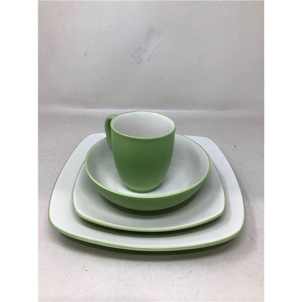 Lot Of 4 Matching Dishes And Mug (Green)