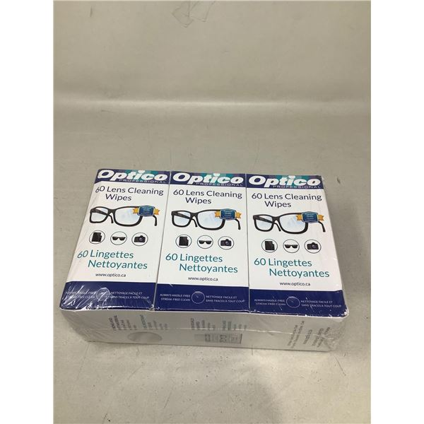 Optico Lens Cleaning Wipes (3 X 60 Wipes)