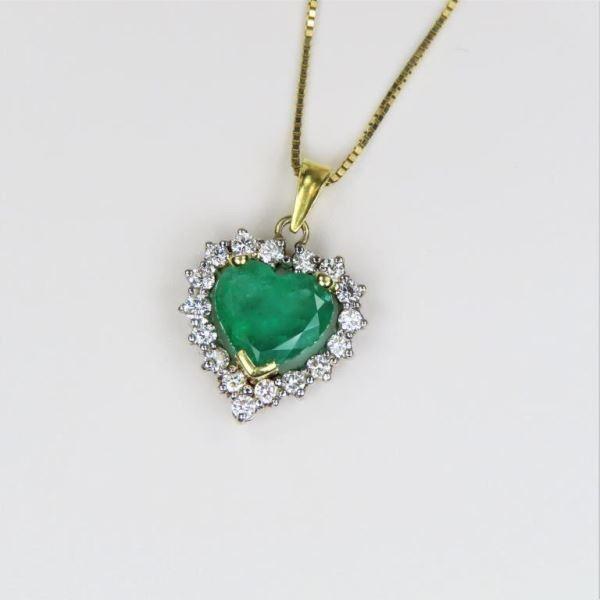 Gorgeous Heart Shaped Emerald and Diamond Pendant