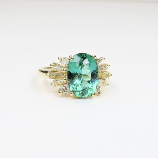 Neon Green Tourmaline and Diamond Ring