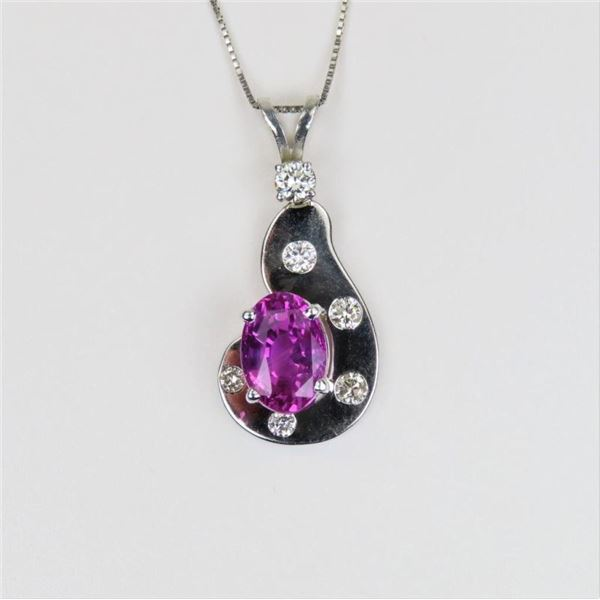 Exquisite Pink Sapphire and Diamond Pendant