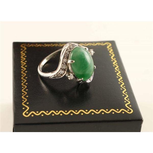 Vintage Jade and Diamond Ring Set