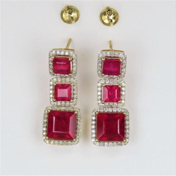 'Orianne Collins' Ruby and Diamond Dangle Earrings