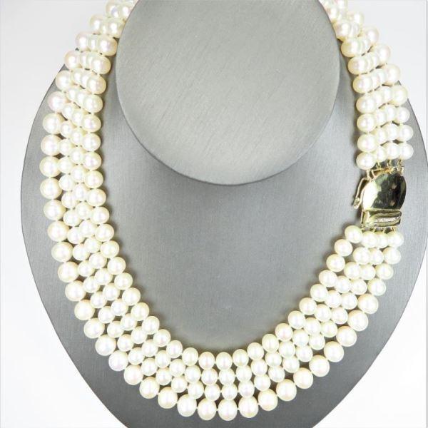 Fine Luxury Multi-Strand Pearl and Diamond