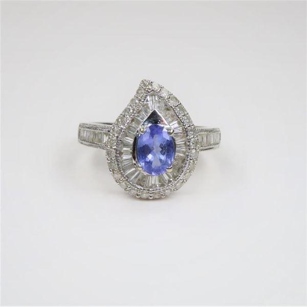 Fabulous Paisley shaped Tanzanite and Diamond Ring