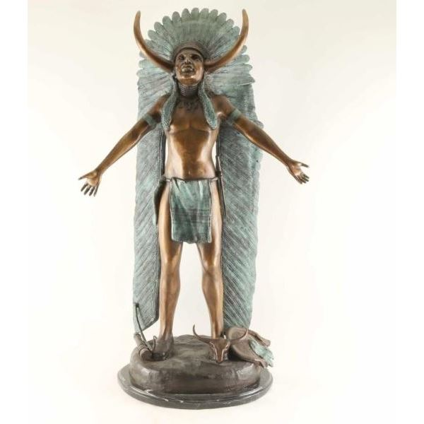 Polychrome Bronze of Indian Chief