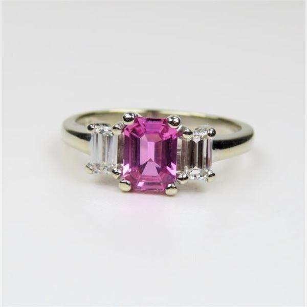 Beautiful Vivid Pink Sapphire and Diamond Ring