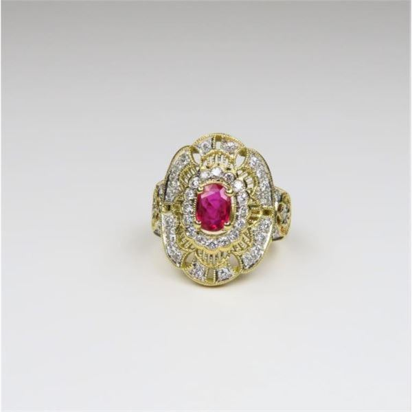 European Crafted Vivid Red Ruby and Diamond Ring