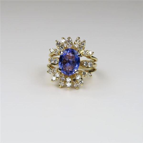 Extraordinary Tanzanite and Diamond Ring
