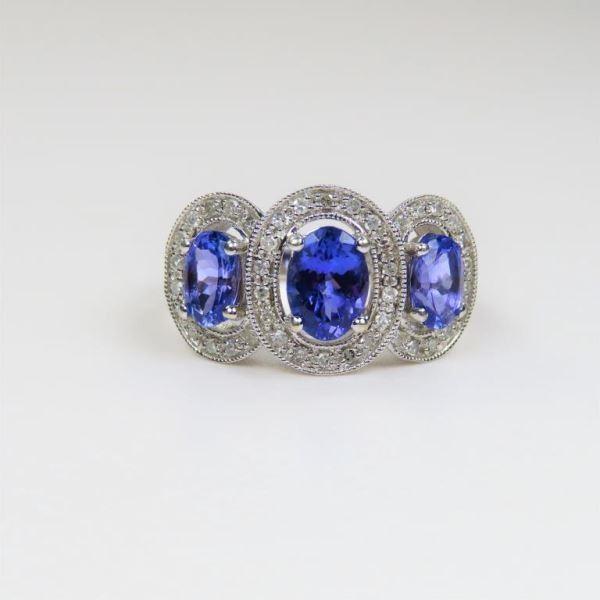 Brilliant Triple Tanzanite and Diamond Ring