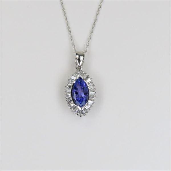 Radiant Tanzanite and Diamond Pendant