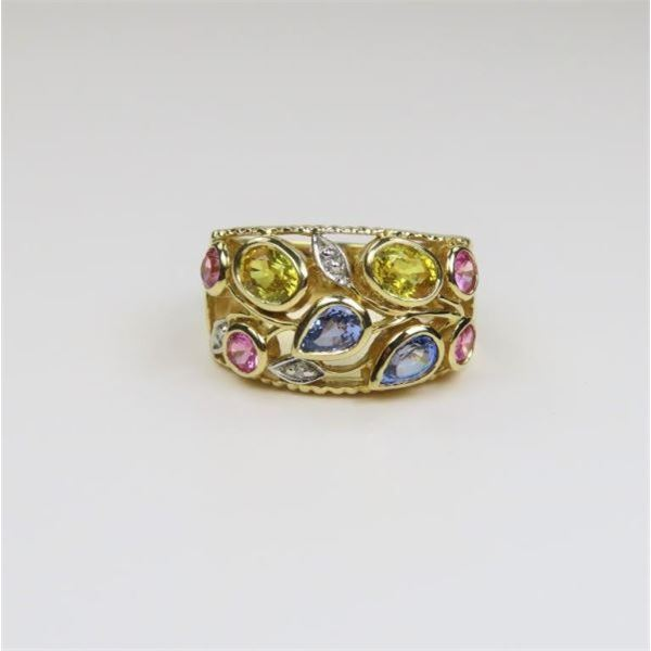 Multi-Colored Sapphires and Diamond Ring