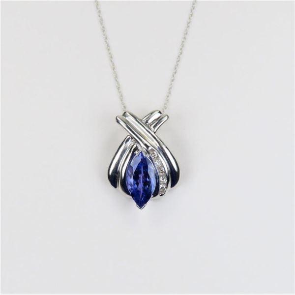 Fantastic Tanzanite and Diamond Pendant