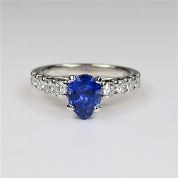 Exquisite Pear Shaped Blue Sapphire and Diamond