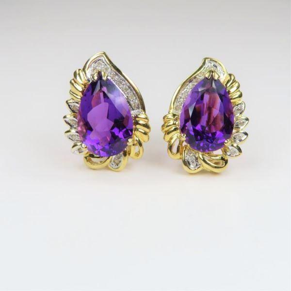 Vintage Style Amethyst and Diamond Earrings