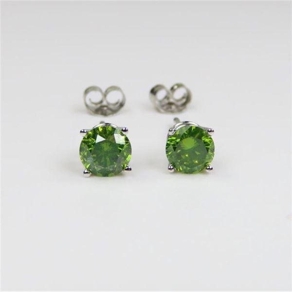 Radiant Green Diamond Stud Earrings