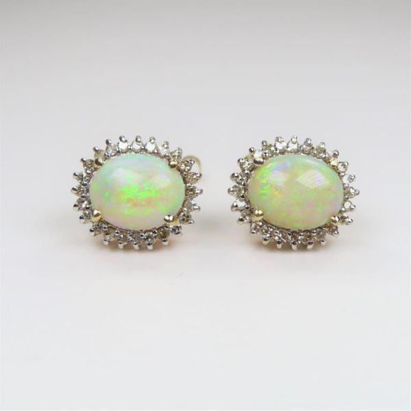 Australian Opal and Diamond Earrings