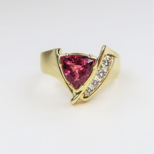 Trilliant cut Pink Tourmaline and Diamond Ring