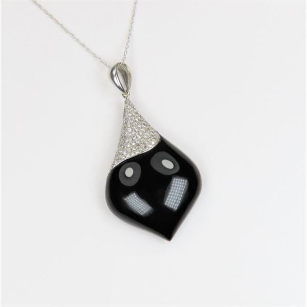 Fabulous Black Onyx and Diamond Pendant