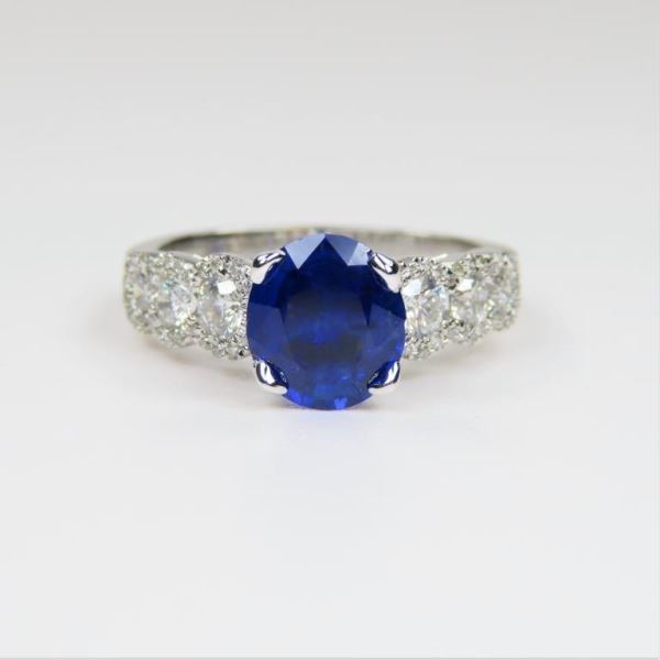 Gorgeous Vivid Blue Sapphire and Diamond Ring