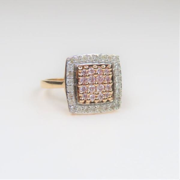 Diamond Studded Rose and White Gold Ring
