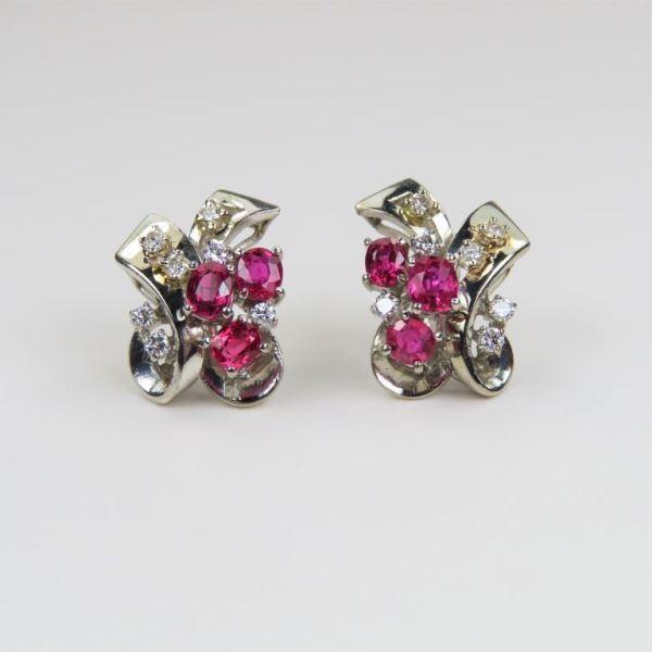 Vintage Ruby and Diamond Earrings