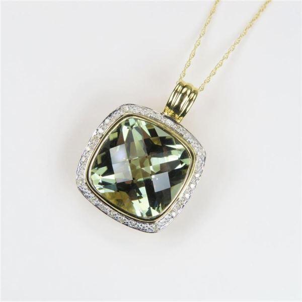 Striking Green Amethyst and Diamond Pendant