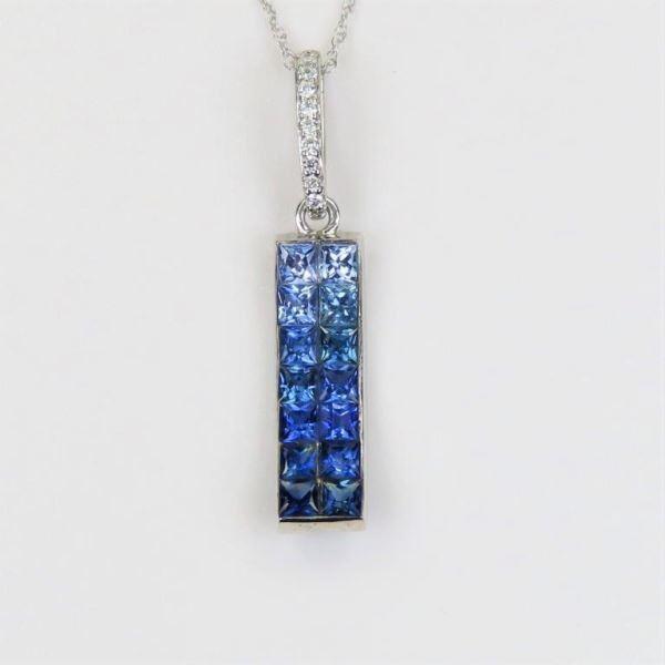 Contemporary Blue Sapphire and Diamond Pendant