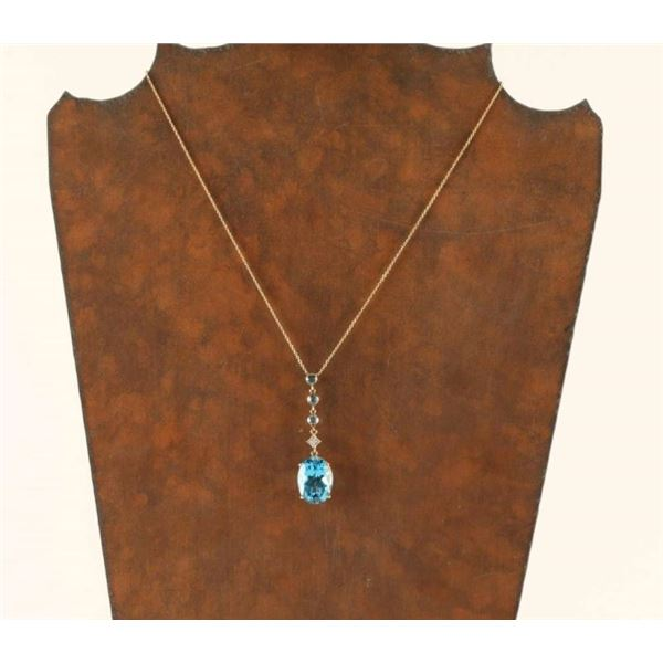 Large Oval Blue Topaz w/ Accenting Diamond