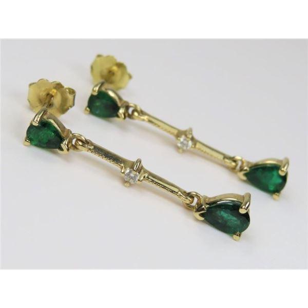 High Quality Emerald and Diamond Earrings